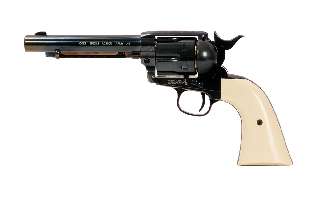 CO2- Revolver Colt Single Action Army SAA .45 5.5 Zoll, blued, weiße Griffschalen, Kaliber 4,5 mm BB (P18)