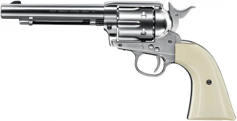 CO2 Luftdruck-Revolver von Colt Modell Single Action Army 45 mit Nickel Finish, Kaliber 4,5mm Diabolo (P18)