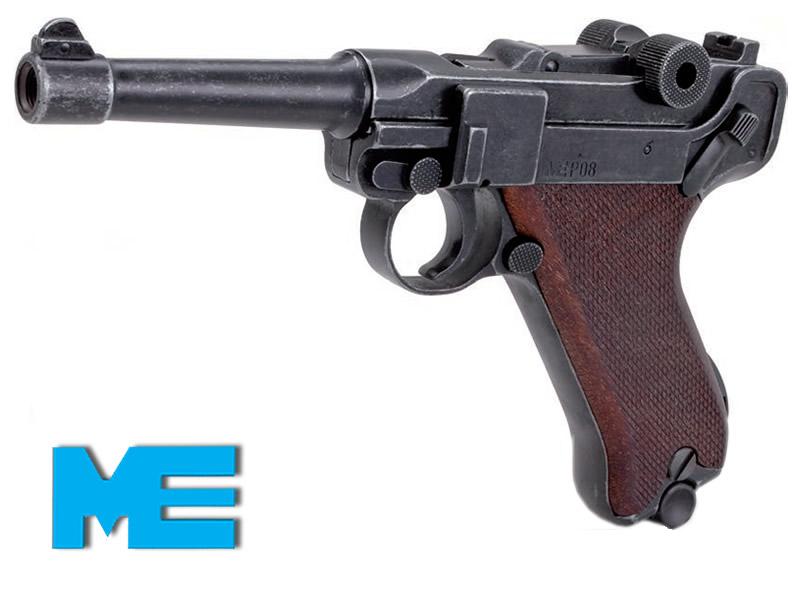 gaspistole signalpistole me p 08 antik look holzgriff. Black Bedroom Furniture Sets. Home Design Ideas