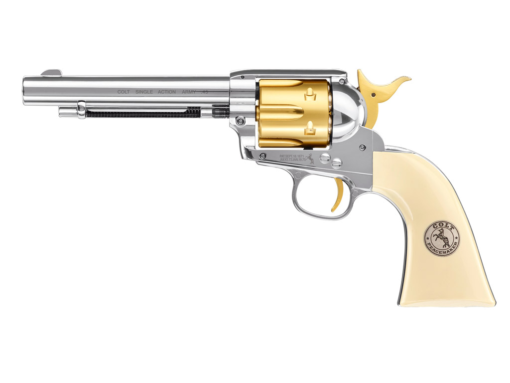 CO2 Revolver Colt SAA .45, 5,5 Zoll, Gold Edition, Kaliber 4,5 mm Diabolo (P18)