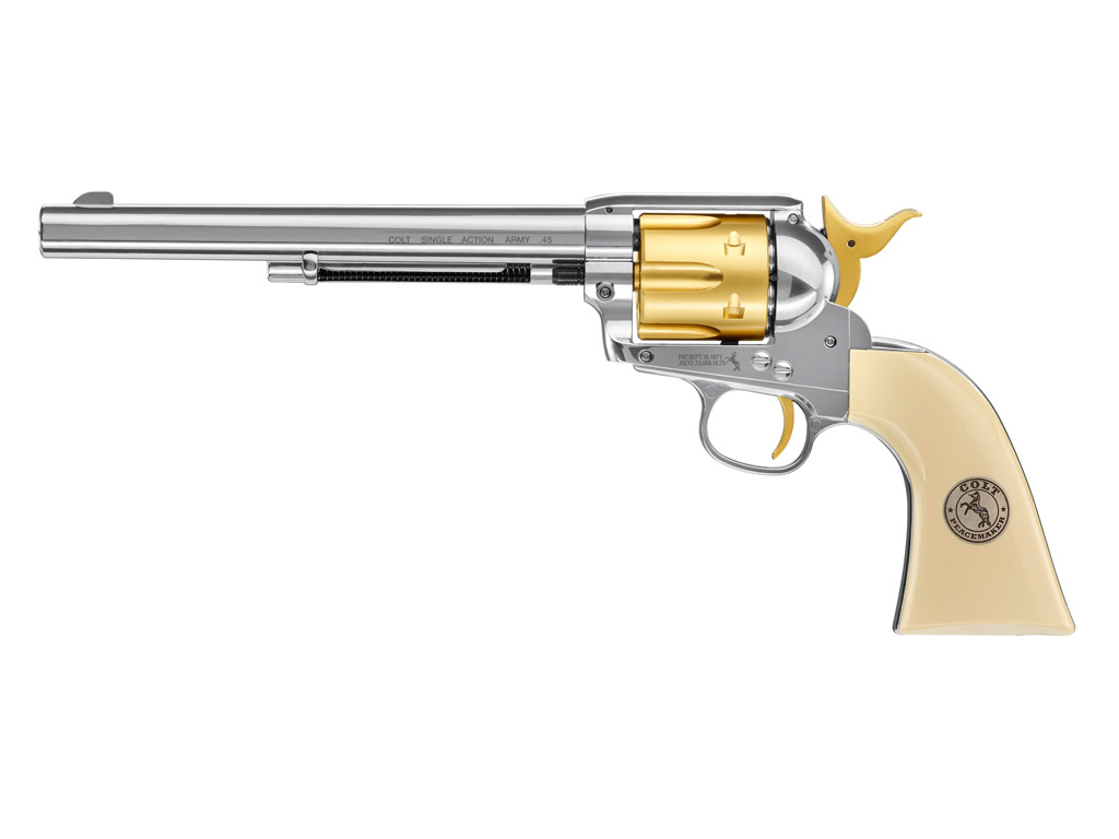 CO2 Revolver Colt SAA .45, 7,5 Zoll, Gold Edition, Kaliber 4,5 mm Diabolo (P18)