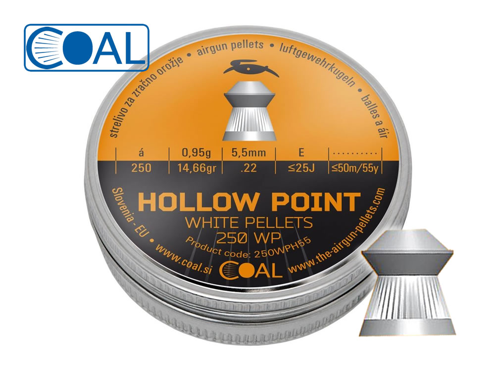 250 Stück COAL Hohlspitz-Diabolos WHITE PELLETS HOLLOW POINT, Kaliber 5,5 mm, 0,95 g