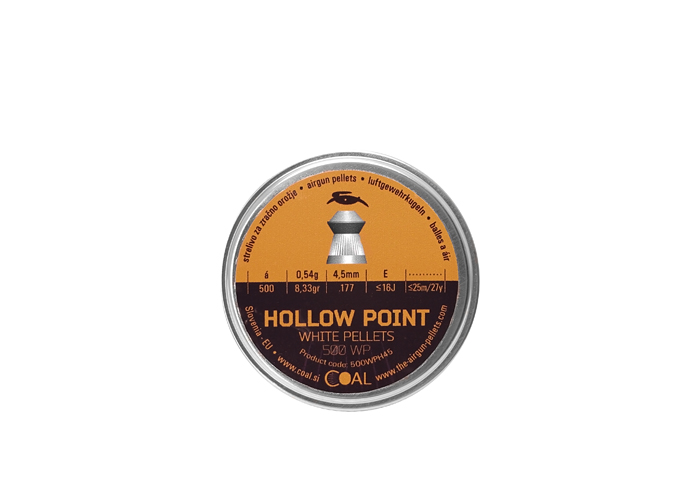 500 Stück COAL Hohlspitz-Diabolos WHITE PELLETS Hollow Point, Kaliber 4,5 mm, 0,54 g