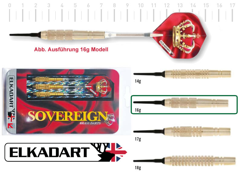 3 Stück ELKADART soft darts SOVEREIGN, 16g, Messing barrel, Alu-Schaft, custom 100 Micron Flights