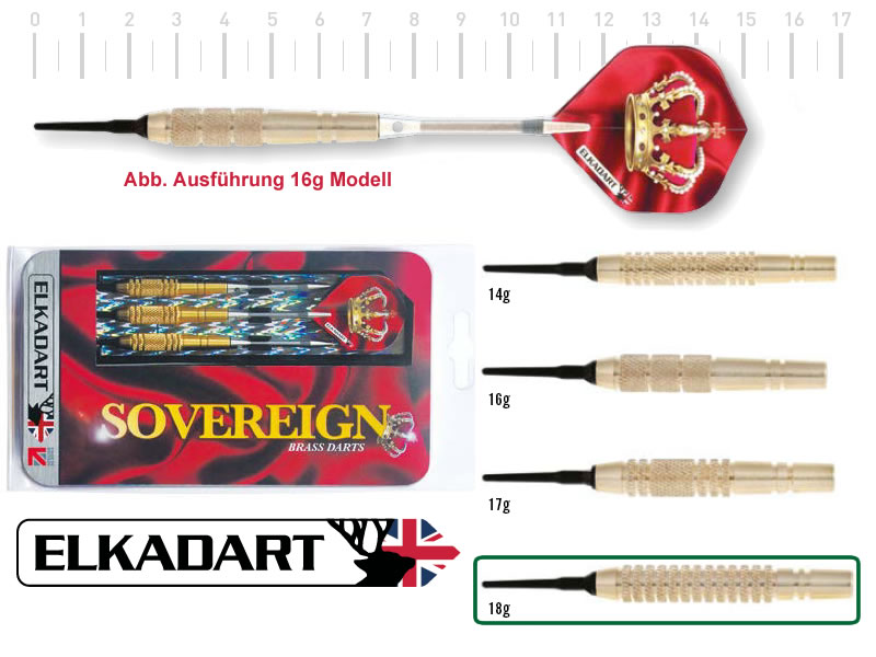 3 Stück ELKADART soft darts SOVEREIGN, 18g, Messing barrel, Alu-Schaft, custom 100 Micron Flights
