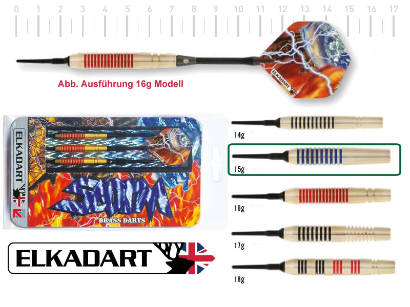 3 Stück ELKADART soft darts STORM, 15g, Messing barrel, Alu-Schaft, custom 100 Micron Flights