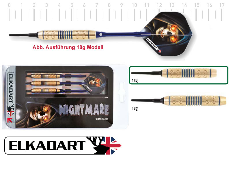 3 Stück ELKADART soft darts NIGHTMARE, 16g, Messing Barrel, Alu-Schaft, custom 100 Micron Flights