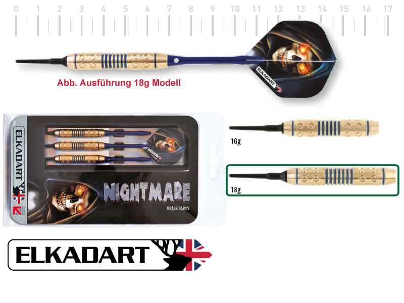 3 Stück ELKADART soft darts NIGHTMARE, 18g, Messing Barrel, Alu-Schaft, custom 100 Micron Flights