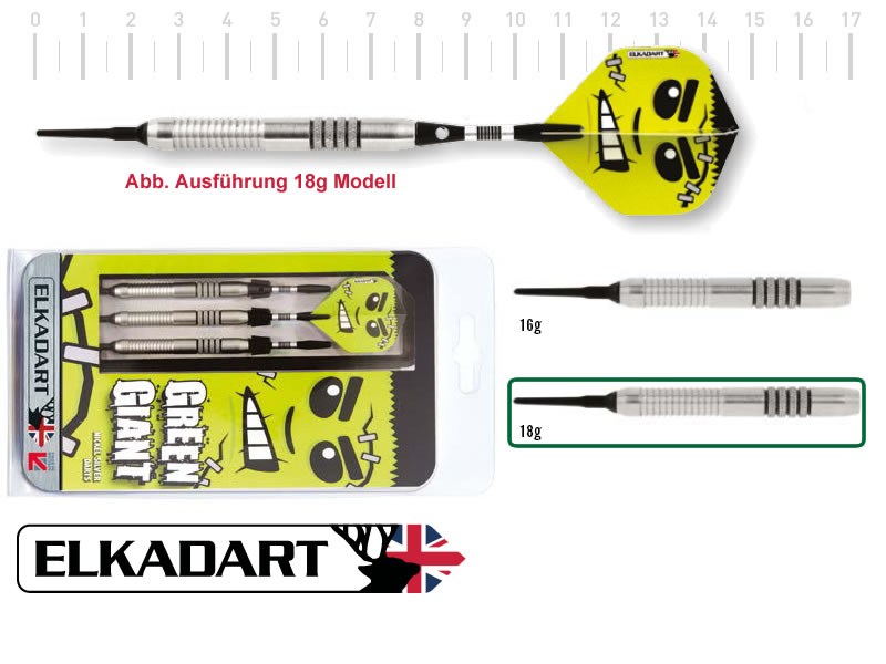 3 Stück ELKADART soft darts GREEN GIANT, 18g, Nickelsilber barrel, Alu-Schaft, custom 100 Micron Flights