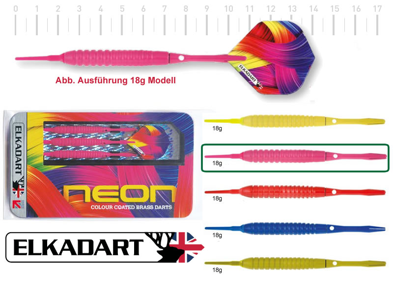3 Stück ELKADART soft darts NEON pink, 18g, Messing barrel, Alu-Schaft, custom 100 Micron Flights