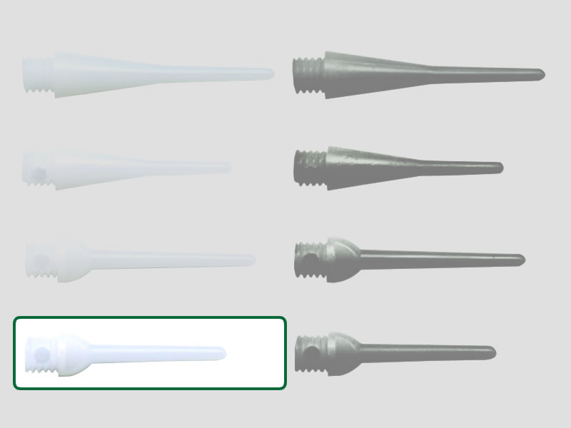 100 Stück ELKADART Spitzen soft tips KEY WHITE SHORT, 20 mm lang, 2Ba-Gewinde