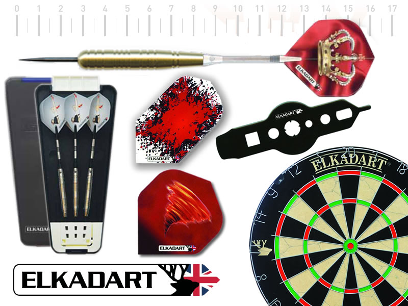 ELKADART steel darts Starter-Set SOVEREIGN, Scheibe, 3 Darts, 6 Extra flights, Dartbox, Multitool