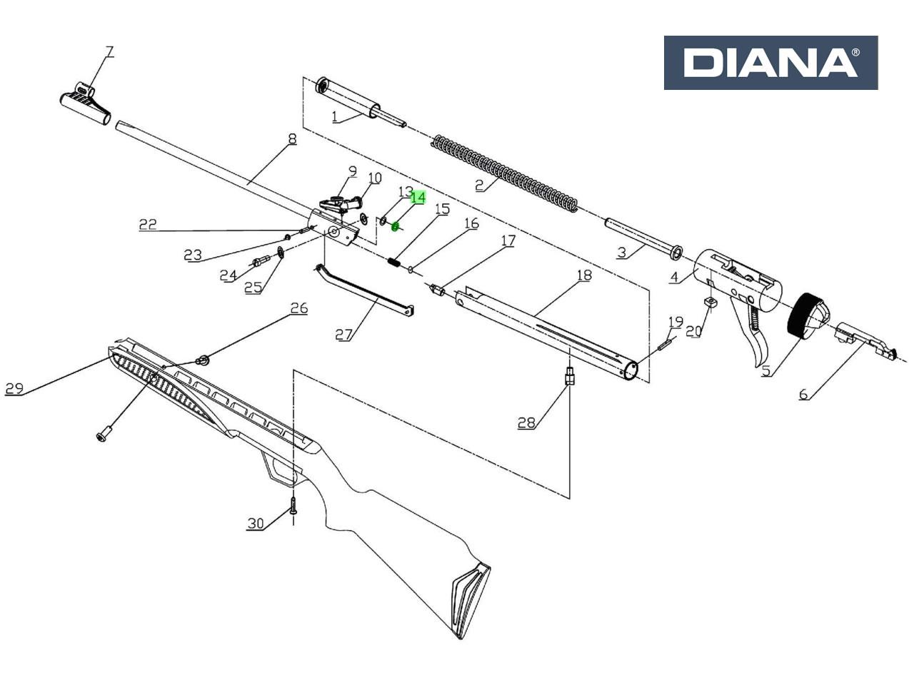 75 explosionszeichnung diana luftgewehr Verschlussfeder für