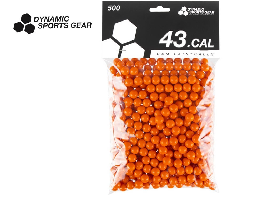DYNAMIC SPORTS GEAR 43.cal Ram Paintballs Farbkugeln, orange, 500 Stück, Kaliber .43