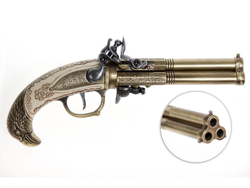 deko pistole drilling steinschlosspistole mit drei l ufen aug. Black Bedroom Furniture Sets. Home Design Ideas
